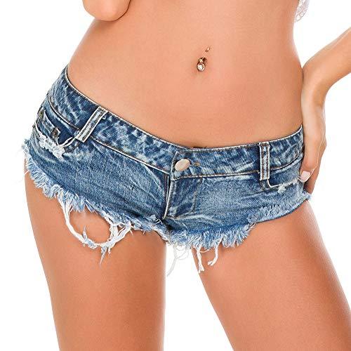 Womens Sexy Low Rise Mini Denim Shorts Hot Pants Thong Cheeky Jeans Shorts,L