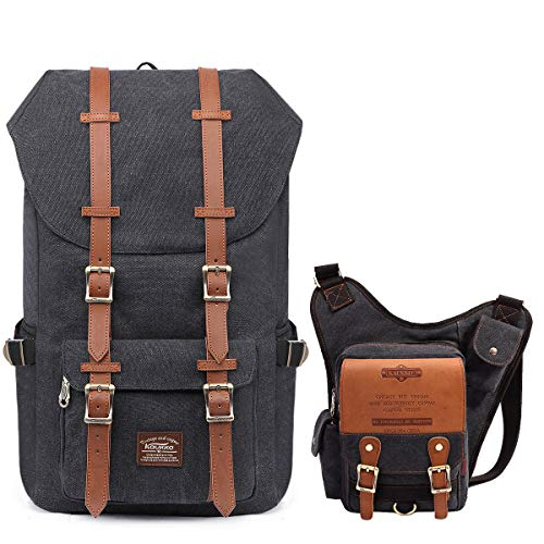 KAUKKO Travel Laptop School Backpack, Outdoor Rucksack丨KAUKKO Canvas...