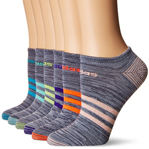 adidas Women's Superlite No Show Socks (6-Pack), Onix Clear Onix Space/Easy Green/Energy Ink Blue/Lucid Red/Frozen Yellow/Energy Blue/Haze Coral, Women's Sock size (5-10)