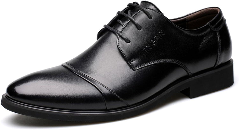 Men's Genuine Leather Lace up Oxfords Dress shoes ( color   Black , Size   7 D(M)US )