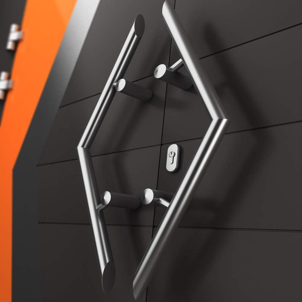 Edelstahl Haustürbeschlag m Schutzrosette Stossgriff 600mm komplett m Klinke