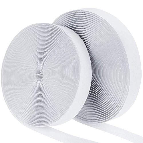 41Ft x 1 Inch Self Adhesive Hook Loop Strips, Heavy Duty Strong Back Sticky Fastening Tape,Nylon Fabric Fastener Mounting Tape for Sewing, Crafting,DIY- Indoor or Outdoor Use (White)