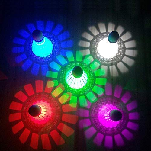 ZHENAN LED Badminton Shuttlecocks Dark Night Glow Birdies Lighting for Outdoor amp Indoor Sports Activities Nylon_5pcs