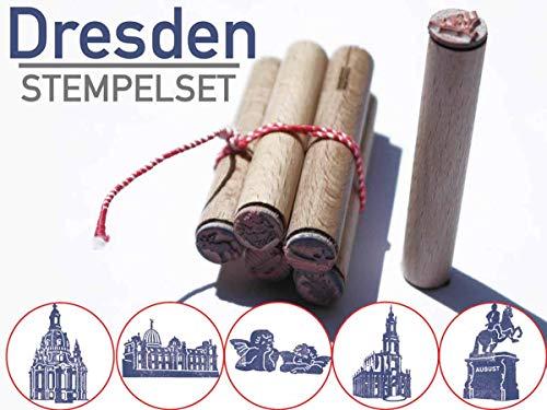 13gramm Dresden Stempel Souvenir Geschenk, 5-teiliges Stempelset aus Buchen-Holz