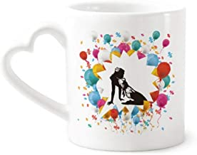 cold master DIY lab Hot Woman Girl Uniforms Festival Balloon Mug Coffee Cup Pottery Ceramic Heart Handle