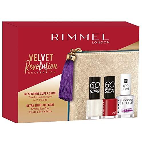 Rimmel London Confezione Regalo Velvet Revolution Collection, Pochette con Set Smalti 60 Seconds e Top Coat