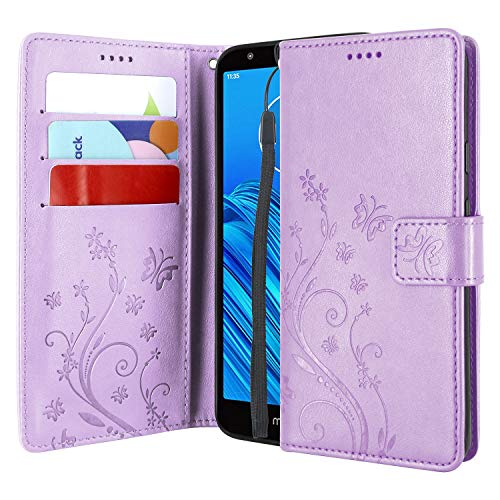 Lacass Floral Butterfly PU Leather Flip Wallet Case Cover Kickstand with Card Slots and Wrist Strap for Motorola Moto E6 2019 Case (Light Purple)