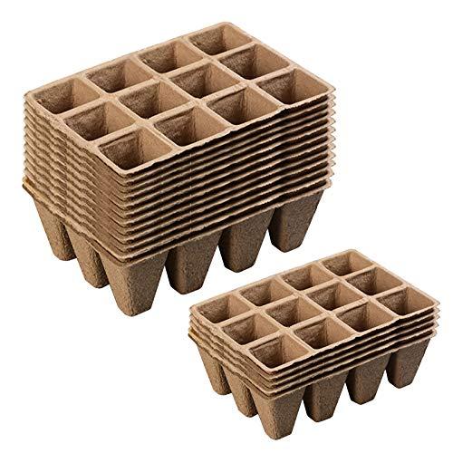 Aceshop 15 Bandejas de Iniciación de Semillas, 12 Rejillas Cuadradas Kit de Germinación de Macetas de Vivero de Turba Orgánica con 15 Etiquetas de Plantas de Plástico para Flores de Frutas Vegetales