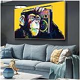 Lienzo de gran tamaño, pintura de pared, póster artístico, imagen de animal moderno, mono de pared artístico, escuchando música para la decoración de la pared de la sala de estar