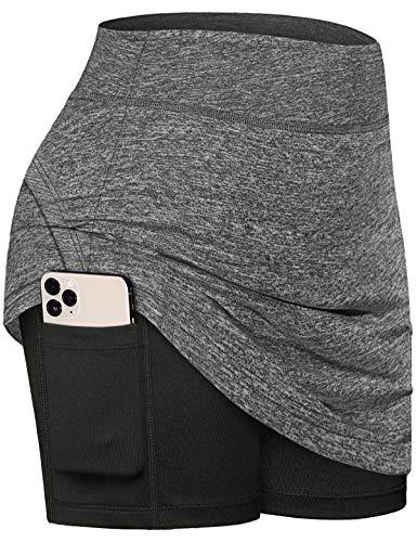 Fulbelle Athletic Skirts for Women, Teen Girls Summer Tennis Skirt Golf Skorts for Women with Pockets Petite Running Fitness Sport Skort Stretchy Built-in Short Skirt Grey Small