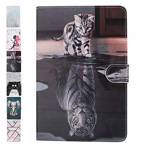ANCASE Tablet Hülle kompatibel für Huawei MediaPad T3 10.0 Zoll Hülle Hülle Leder Tasche Marmor Effekt Muster Schutzhülle Flip Cover mit Kartenfach - Katze & Tiger