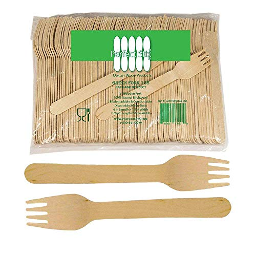 Perfect Stix Green Fork 158-250ct Disposable Wooden Forks Pack of 250 Plain Forks