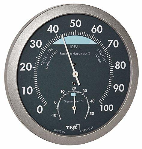 TFA Dostmann Analoges Thermo-Hygrometer, Temperatur, Luftfeuchtigkeit, gesundes Raumklima, mit Komfortzonen