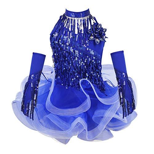 Freebily Abito da Ballo Latino Americano Bambina Pailettes Vestito Danza Classica con Frange Costume Ballerina Carnevale Collana con Nappa Guanti Lunghi Senza Dita Blu 10-12 Anni
