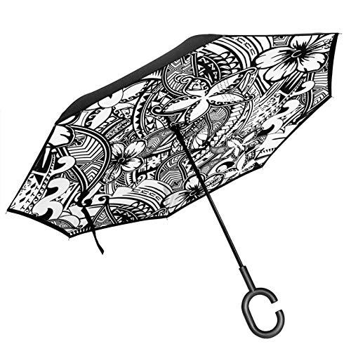 Doppelschichtiger, umgekehrter Regenschirm mit C-förmigem Griff, hawaiianischer Polynesischer Tattoo-Druck, UV-Schutz, wasserdicht, winddicht, gerader Regenschirm für Autoregen und den Außenbereich