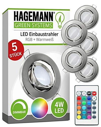 HAGEMANN® 5 x LED Einbaustrahler RGB dimmbar mit Fernbedienung 4W RGB + W 300lm rund flach 230V Einbauspot LED Spot – Ø 68mm Bohrloch