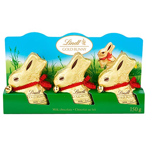 Lindt Easter Gold Bunny 3 Pack Milk Chocolate, Gift (3 Pack x 50g), 150g, 150 Grams