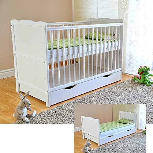 White Solid Wood Baby Cot Bed with Drawer & Deluxe Water Repellent Mattress Converts into a Junior Bed  Height Adjustable