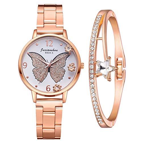 Damenuhr Roségold Damen Uhr Schmetterlingsmuster Elegant Wasserdicht Armbanduhr Lässige Analoge Metall Mesh Uhren für Frauen Damen Mädchen Ultradünne Set mit Armreif(Gelb)