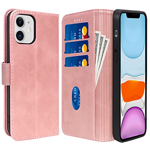 """Skycase Compatible for iPhone 11 Case 5G,Handmade Flip Folio Wallet Case with Card Slots and Cash Pocket for iPhone 11 6.1"""" 2019,Rose Gold"""