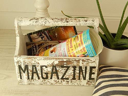 Trendshop-online Zeitungsständer aus Holz in Vintage Stil Weiss Zeitungsorganisator Zeitschriftenhalter Magazine-Box Magazinhalter Shabby Aufbewahrung