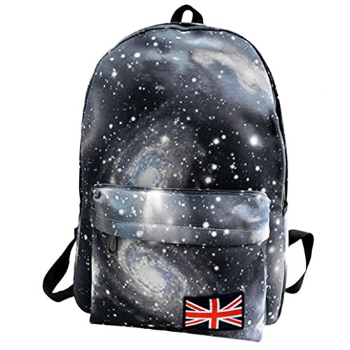 Galaxy Backpack School Backpack College Bags Fashion Travel Laptop Rucksack Daypack for Teen Boys and Girls (16.5311.412.36 Inch, Black)