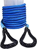 QIQU 1/2' 20ft Kinetic Recovery Rope,1/2' Energy Rope, Kinetic Rope,Double Braided Nylon Rope (Blue)