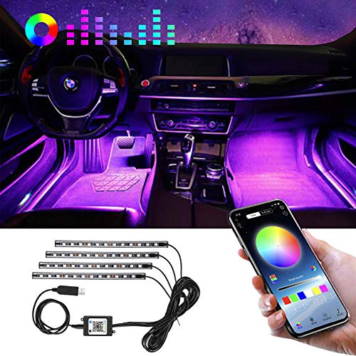 Car LED Lights Interior comboss 4Pcs 48 LED Multicolor Music Sync Car Interior Lights Under Dash Lighting Kit with IR Remote USB DC 5V