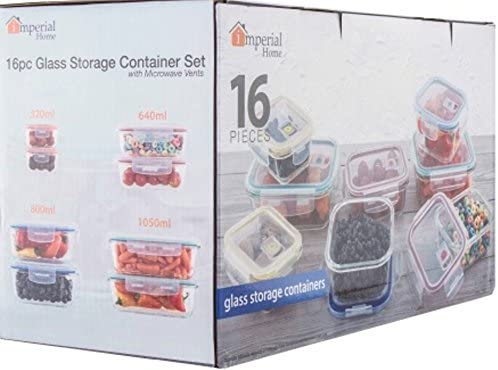 wholesale 16-pc Glass discount Food Storage Containers Lock Tight Silicone Lids discount Microwave Vents online sale