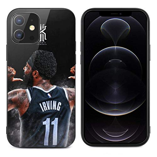 Phone Case for iPhone 12 TPU Glass Protective Cover Durable Scratch-Resistant Shock-Proof Basketball Fans Case for iPhone 12 (Brooklyn Kyrie-1)