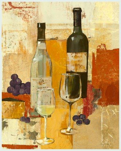 Bild mit Rahmen Avery Tillmon - Contemporary Wine Tasting II - Digitaldruck - Alimunium silber glänzend, 30 x 37.5cm - Premiumqualität - moderne Malerei, Stillleben, Weinflaschen, Weingläser, Weinprobe, Weintrauben, Traube.. - MADE IN GERMANY - ART-GALERIE-SHOPde