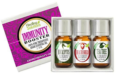 Immunity Booster Set 100% Pure, Best Therapeutic Grade Essential Oil Kit - 3/10ml (Eucalyptus, Health Shield, and Tea Tree)