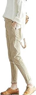 pujingge Womens Trousers Cozy Corduroy Elastic High Waist Loose Pants Trousers 1 Large