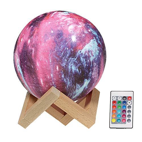 Festnight Moon Lamp 8cm 3D Printing USB 16 Colori Colorato Luci del Pianeta Night Light, con Telecomando Staffa in Legno Ricaricabile Regali per Bambini Decorazione Festa di Compleanno