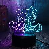Luz de noche de Mickey Mouse 3D 7 colores regalo de cumpleaños ligero de decoración de escritorio intercambiable tocable y cambiable automático con tableta de acrílico y base de ABS y cable USB