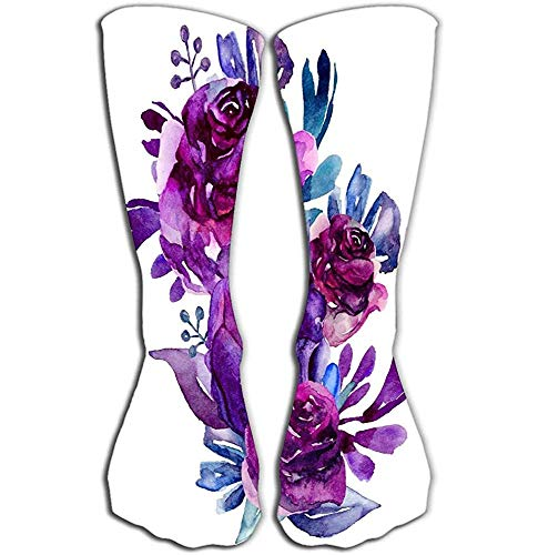 NGMADOIAN Damen Mädchen Herren Neuheit über Wade Knie Hohe Socken Lustige Stiefelsocke 50 cm lila Blumen ClipArt Blumenstrauß Bot