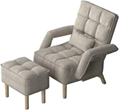 Modern Flax Accent Chair Set, High-Back Club Armchair Adjustable Backrest Sofa Chairs with Stool for Bedroom Reading Livin...