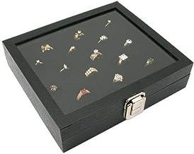 Novel Box Half-Size Glass Top Black Jewelry Display Case + Black 36 Slot Ring/Cufflink Display Insert + Custom NB Pouch