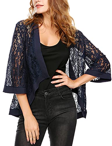 Zeagoo Women's Fashion Flare Sleeve Open Front Cardigan Kimono Tops Lace Crochet Blouse Navy Blue L (Flare Kimono)