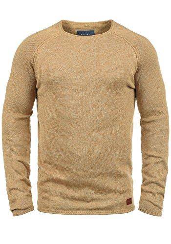 Blend Dan Herren Strickpullover Feinstrick Pullover Mit Rundhals Und Melierung, Größe:L, Farbe:Beige Brown (71509)