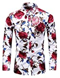 Men's Slim fit Printed Long-Sleeve Button-Down Dress Floral Shirt (Medium Chest: 41.7 inch, White red)