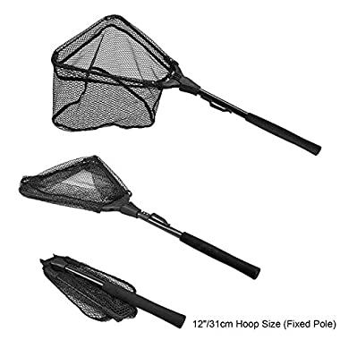 PLUSINNO Fishing Net Fish Landing Net, Foldable Collapsible Telescopic Pole Handle, Durable Nylon Material Mesh, Safe Fish Catching or Releasing (12 )