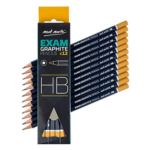 Mont Marte Bleistifte HB Set - 12 Stück - Ideal zum Schreiben, technischem Zeichnen und Skizzieren - Exam Serie - Perfekt für Anfänger, Profis und Künstler - Professionelle Stifte zum zeichnen lernen