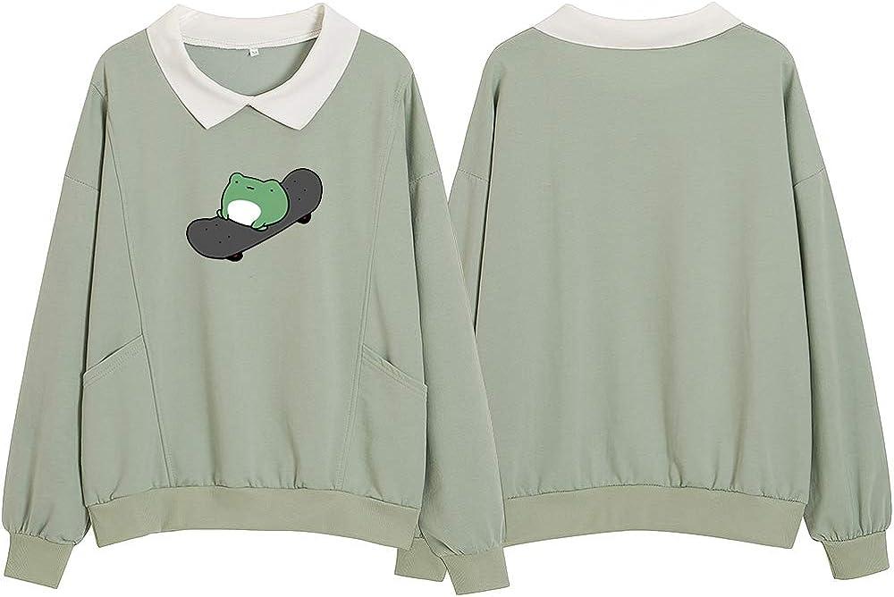 KIEKIECOO Womens Turn Down Collar Sweatshirts Long Sleeve Cute Frog Sweaters