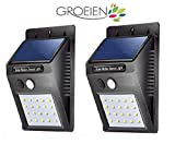Groeien® Waterproof Bright Solar Wireless Security Motion Sensor 20 LED Night Light for Outdoor/Garden Wall (Black)
