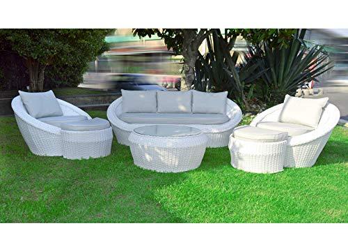 Scaramuzza modo salón de jardín de ratán blanco elegante efecto redondeador, sofá de 3 plazas para exterior, 2 sillones individuales con reposapiés, mesa, cojines incluidos
