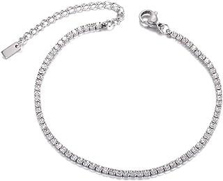 lokaerlry Sparkling CZ Crystal Link Bracelets Bangles for Women Girls Stainless Steel Box Chain Bracelet