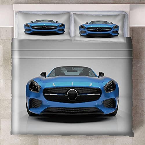 Teqoasiy - Duvet Cover Juego De Cama Matrimonio - Carro Azul 260x230cm Impreso En 3D - Funda De Edredón De Microfibra Suave - Poliéster Funda De Edredón 3 Piezas con Cierre De Cremallera