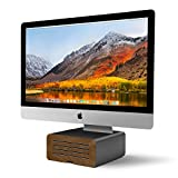 Twelve South HiRise Pro for iMac/ Displays/ Monitors | Height-adjustable stand w/ storage, reversible front + leather inlay