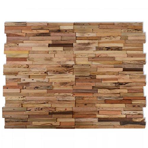 Festnight 10 Pz Pannelli di Rivestimento Parete/Decorazione Muro/Pannelli di Decorazioni 1 m² in Legno di Teak Riciclato Multicolore/Naturale